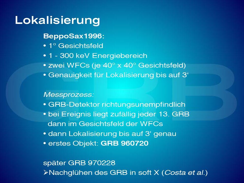Lokalisierung BeppoSax1996: 1° Gesichtsfeld 1 - 300 keV Energiebereich zwei WFCs (je 40° x 40° Gesichtsfeld) Genauigkeit für Lokalisierung bis auf 3 M