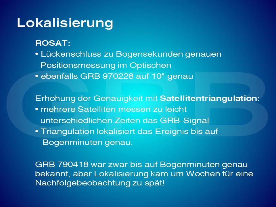 Lokalisierung ROSAT: Lückenschluss zu Bogensekunden genauen Positionsmessung im Optischen ebenfalls GRB 970228 auf 10
