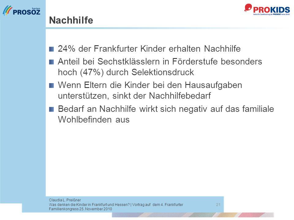 Nachhilfe 24% der Frankfurter Kinder erhalten Nachhilfe Anteil bei Sechstklässlern in Förderstufe besonders hoch (47%) durch Selektionsdruck Wenn Elte