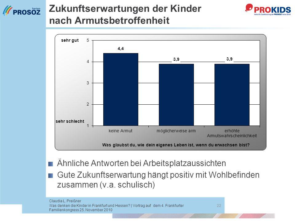 Zukunftserwartungen der Kinder nach Armutsbetroffenheit 22 Claudia L. Preißner Was denken die Kinder in Frankfurt und Hessen? | Vortrag auf dem 4. Fra