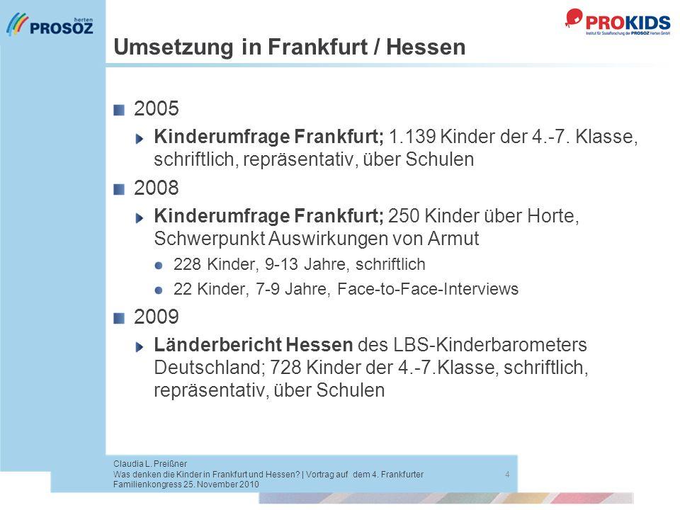 Umsetzung in Frankfurt / Hessen 2005 Kinderumfrage Frankfurt; 1.139 Kinder der 4.-7. Klasse, schriftlich, repräsentativ, über Schulen 2008 Kinderumfra