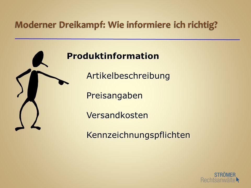 Produktinformation Artikelbeschreibung Preisangaben Kennzeichnungspflichten Versandkosten