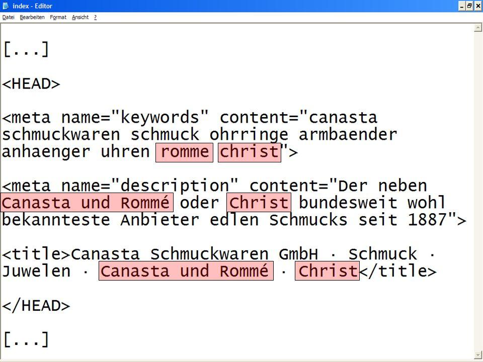 Nennung von Referenzkunden Fremde Marken im Metatag keywords Fremde Marken als Adword