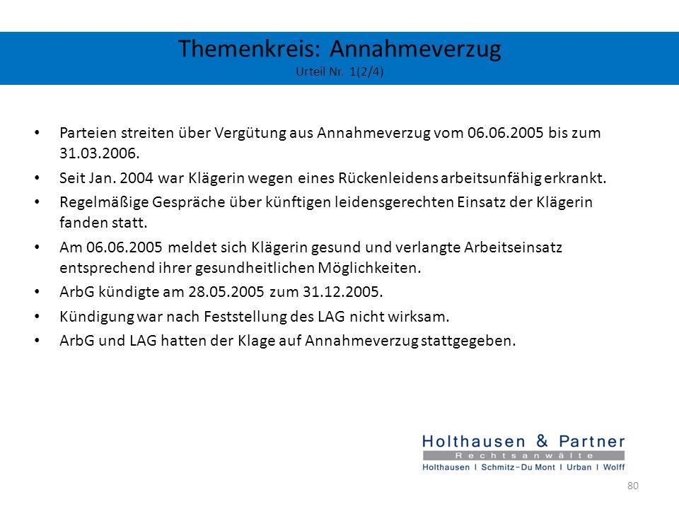 Themenkreis: Annahmeverzug Urteil Nr. 1(2/4) Parteien streiten über Vergütung aus Annahmeverzug vom 06.06.2005 bis zum 31.03.2006. Seit Jan. 2004 war