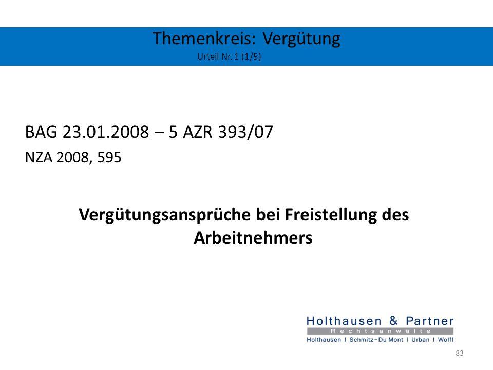 Themenkreis: Vergütung Urteil Nr. 1 (1/5) BAG 23.01.2008 – 5 AZR 393/07 NZA 2008, 595 Vergütungsansprüche bei Freistellung des Arbeitnehmers 83