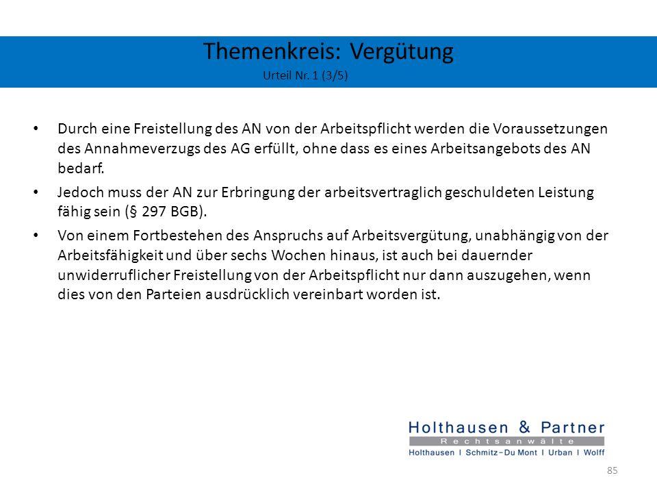Themenkreis: Vergütung Urteil Nr. 1 (3/5) Durch eine Freistellung des AN von der Arbeitspflicht werden die Voraussetzungen des Annahmeverzugs des AG e