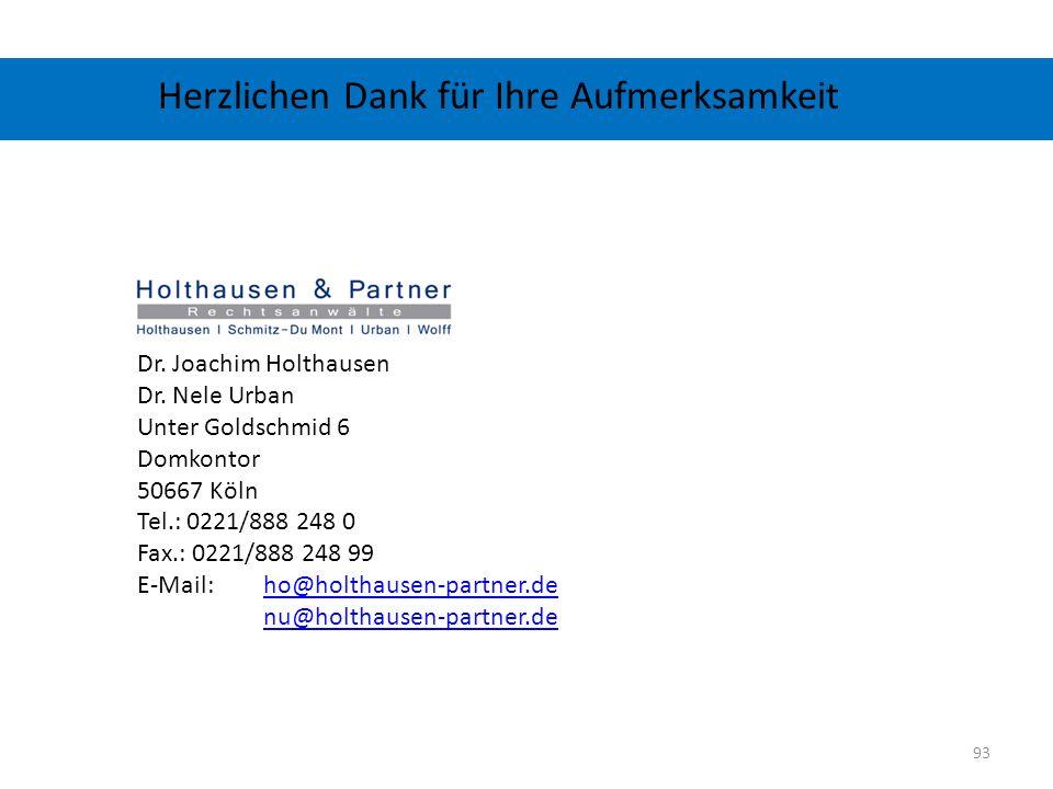 Herzlichen Dank für Ihre Aufmerksamkeit Dr. Joachim Holthausen Dr. Nele Urban Unter Goldschmid 6 Domkontor 50667 Köln Tel.: 0221/888 248 0 Fax.: 0221/