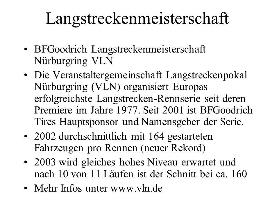 Langstreckenmeisterschaft BFGoodrich Langstreckenmeisterschaft Nürburgring VLN Die Veranstaltergemeinschaft Langstreckenpokal Nürburgring (VLN) organi