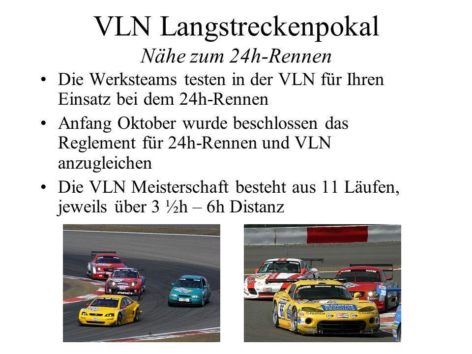 VLN Langstreckenpokal Nähe zum 24h-Rennen Die Werksteams testen in der VLN für Ihren Einsatz bei dem 24h-Rennen Anfang Oktober wurde beschlossen das R