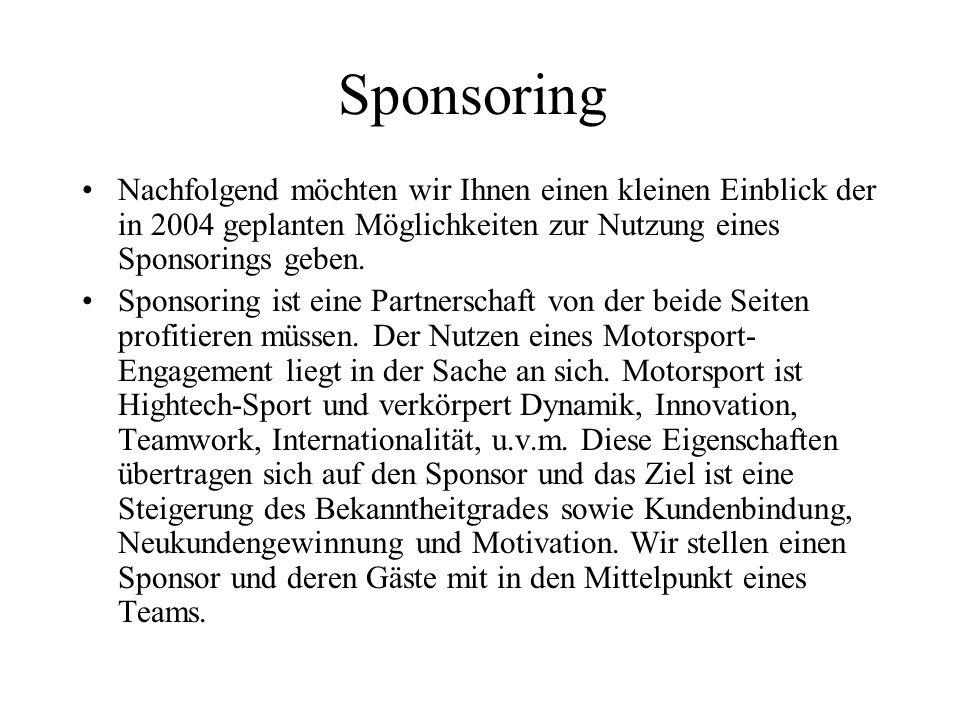 Sponsoring Nachfolgend möchten wir Ihnen einen kleinen Einblick der in 2004 geplanten Möglichkeiten zur Nutzung eines Sponsorings geben. Sponsoring is