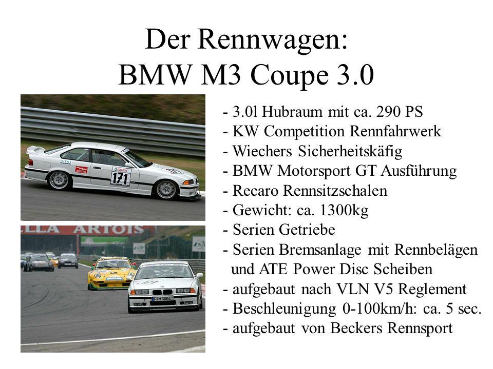 Der Rennwagen: BMW M3 Coupe 3.0 - 3.0l Hubraum mit ca. 290 PS - KW Competition Rennfahrwerk - Wiechers Sicherheitskäfig - BMW Motorsport GT Ausführung