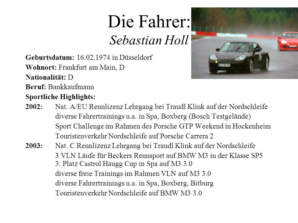 Die Fahrer: Sebastian Holl Geburtsdatum: 16.02.1974 in Düsseldorf Wohnort: Frankfurt am Main, D Nationalität: D Beruf: Bankkaufmann Sportliche Highlig