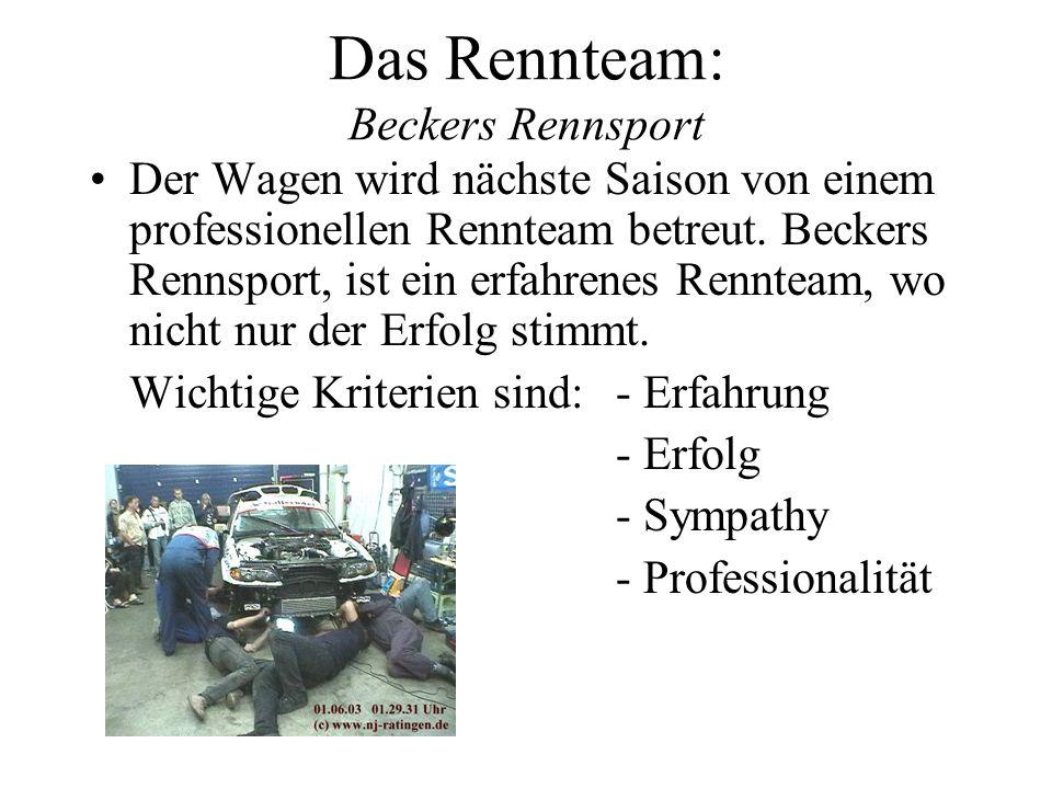 Das Rennteam: Beckers Rennsport Der Wagen wird nächste Saison von einem professionellen Rennteam betreut. Beckers Rennsport, ist ein erfahrenes Rennte