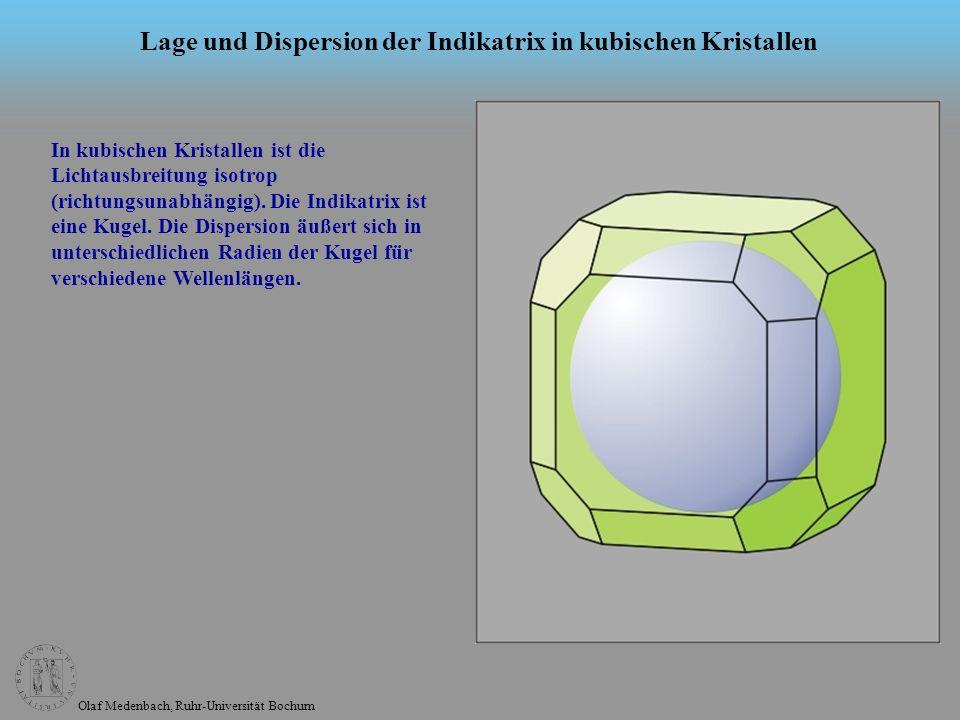 Olaf Medenbach, Ruhr-Universität Bochum Lage und Dispersion der Indikatrix in wirteligen Kristallen Die Indikatrix in tetragonalen, trigonalen und hexagonalen Kristallen (wirteligen Kristallen) ist ein Rotationsellipsoid (einachsige Indikatrix), dessen Rotationsachse (optische Achse) parallel zur mehrzähligen Achse (c-Achse) des Kristalls orientiert sein muss.