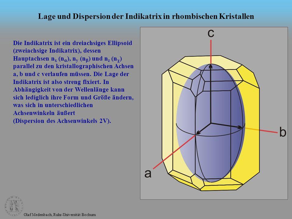 Olaf Medenbach, Ruhr-Universität Bochum Lage und Dispersion der Indikatrix in monoklinen Kristallen Die Indikatrix ist ein dreiachsiges Ellipsoid (zweiachsige Indikatrix).