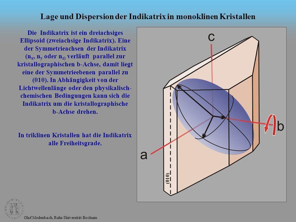 Olaf Medenbach, Ruhr-Universität Bochum Lage und Dispersion der Indikatrix in monoklinen Kristallen Die Indikatrix ist ein dreiachsiges Ellipsoid (zwe