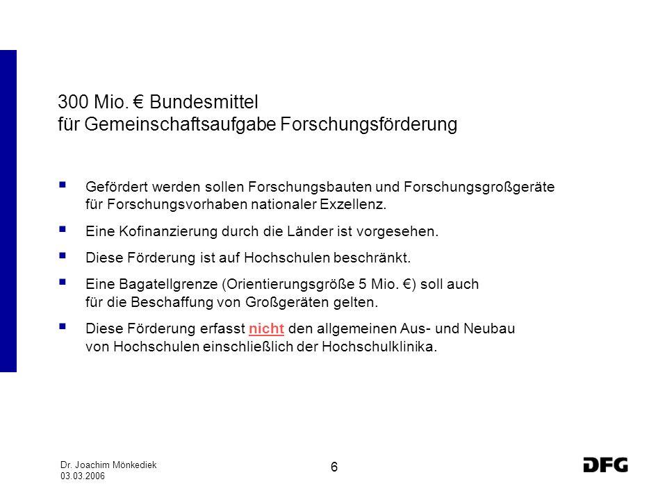 Dr. Joachim Mönkediek 03.03.2006 6 300 Mio. Bundesmittel für Gemeinschaftsaufgabe Forschungsförderung Gefördert werden sollen Forschungsbauten und For