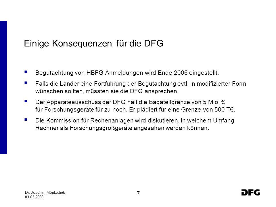 Dr. Joachim Mönkediek 03.03.2006 7 Einige Konsequenzen für die DFG Begutachtung von HBFG-Anmeldungen wird Ende 2006 eingestellt. Falls die Länder eine