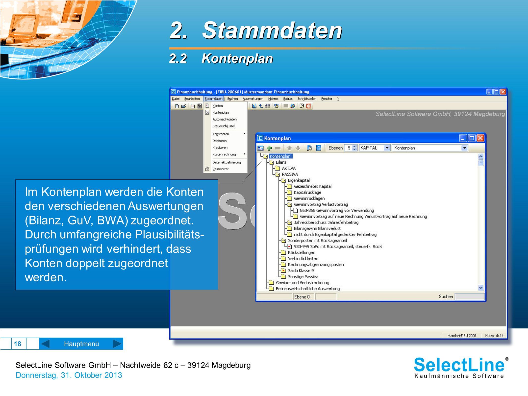 SelectLine Software GmbH – Nachtweide 82 c – 39124 Magdeburg Donnerstag, 31. Oktober 2013 18 2. Stammdaten 2.2 Kontenplan 2. Stammdaten 2.2 Kontenplan