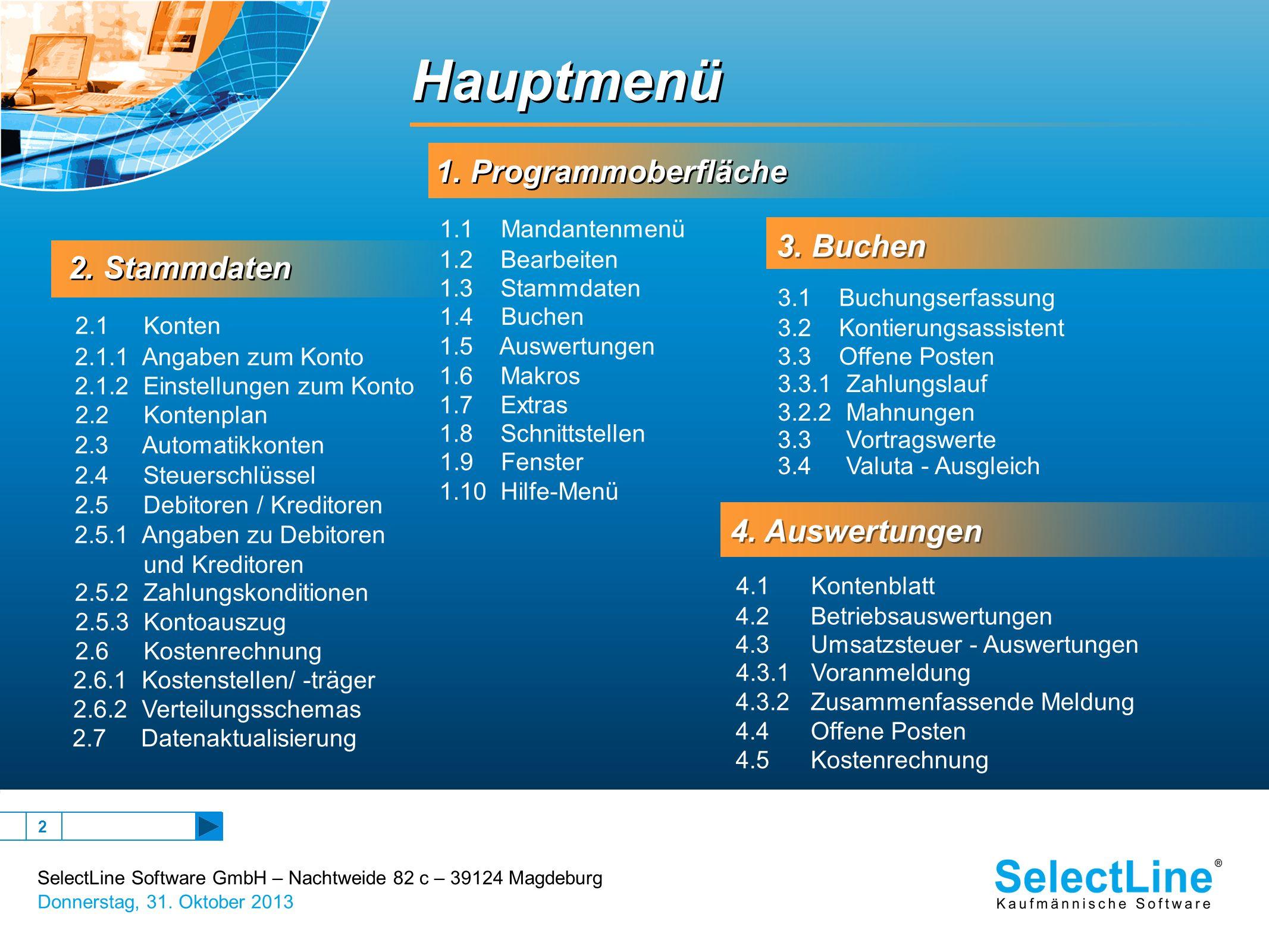 SelectLine Software GmbH – Nachtweide 82 c – 39124 Magdeburg Donnerstag, 31. Oktober 2013 2 1. Programmoberfläche 1. Programmoberfläche 2. Stammdaten