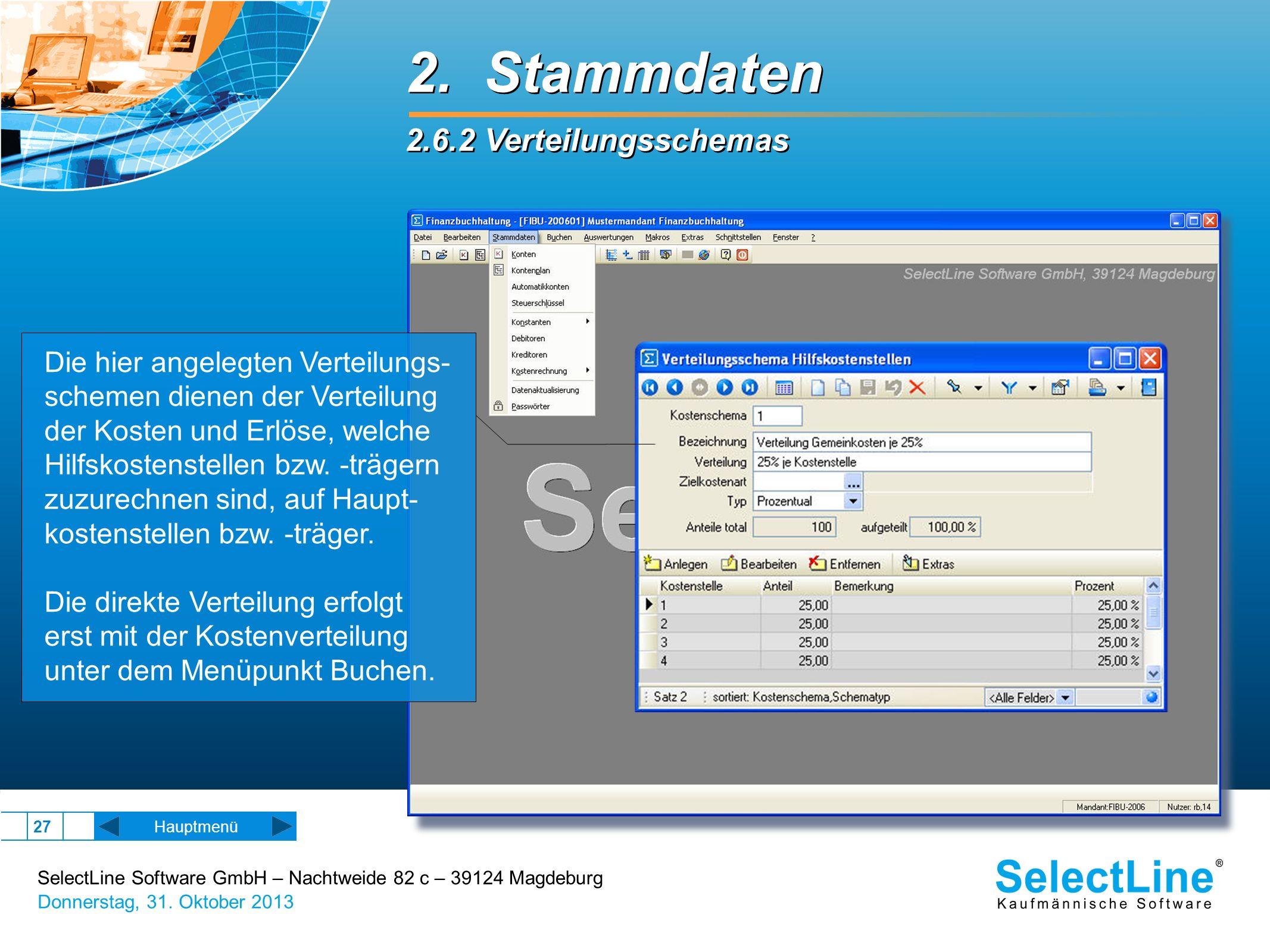 SelectLine Software GmbH – Nachtweide 82 c – 39124 Magdeburg Donnerstag, 31. Oktober 2013 27 Hauptmenü 2. Stammdaten 2.6.2 Verteilungsschemas 2. Stamm