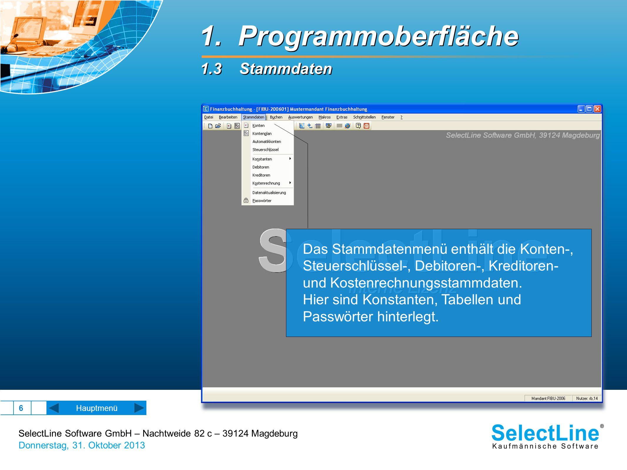 SelectLine Software GmbH – Nachtweide 82 c – 39124 Magdeburg Donnerstag, 31. Oktober 2013 6 Hauptmenü Das Stammdatenmenü enthält die Konten-, Steuersc