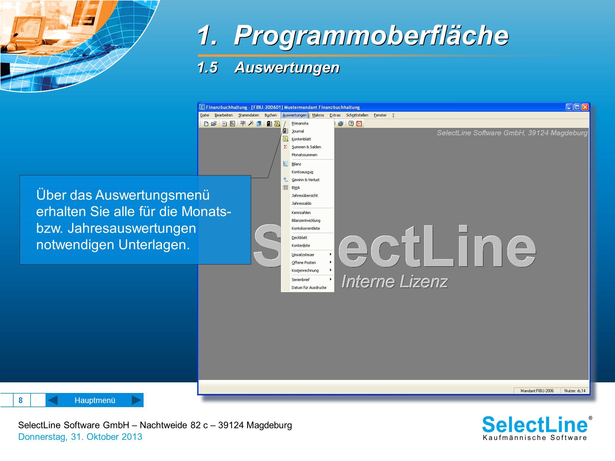 SelectLine Software GmbH – Nachtweide 82 c – 39124 Magdeburg Donnerstag, 31. Oktober 2013 8 Hauptmenü Über das Auswertungsmenü erhalten Sie alle für d