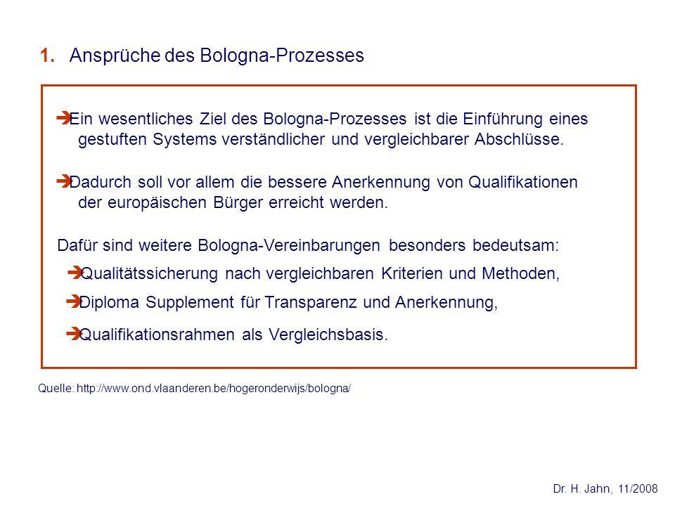 Dr. H. Jahn, 11/2008 Dadurch soll vor allem die bessere Anerkennung von Qualifikationen der europäischen Bürger erreicht werden. Ein wesentliches Ziel