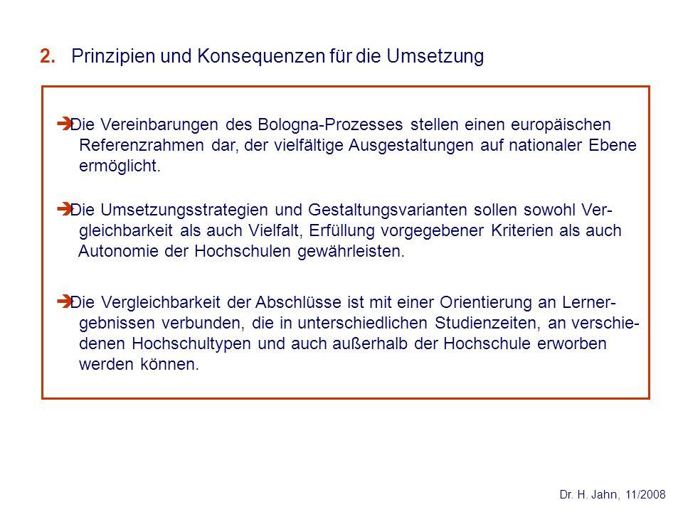 Dr. H. Jahn, 11/2008 Die Umsetzungsstrategien und Gestaltungsvarianten sollen sowohl Ver- gleichbarkeit als auch Vielfalt, Erfüllung vorgegebener Krit