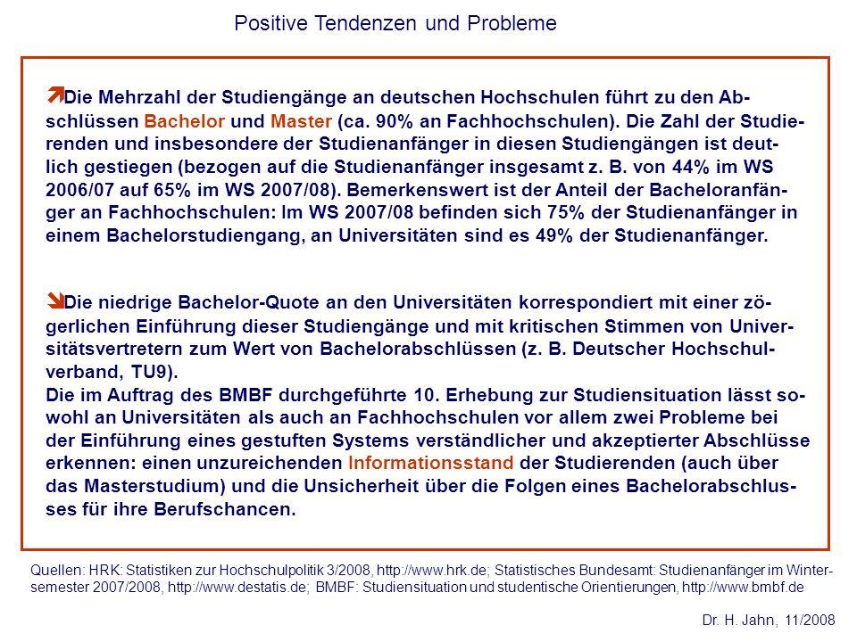 Dr. H. Jahn, 11/2008 Positive Tendenzen und Probleme Die niedrige Bachelor-Quote an den Universitäten korrespondiert mit einer zö- gerlichen Einführun