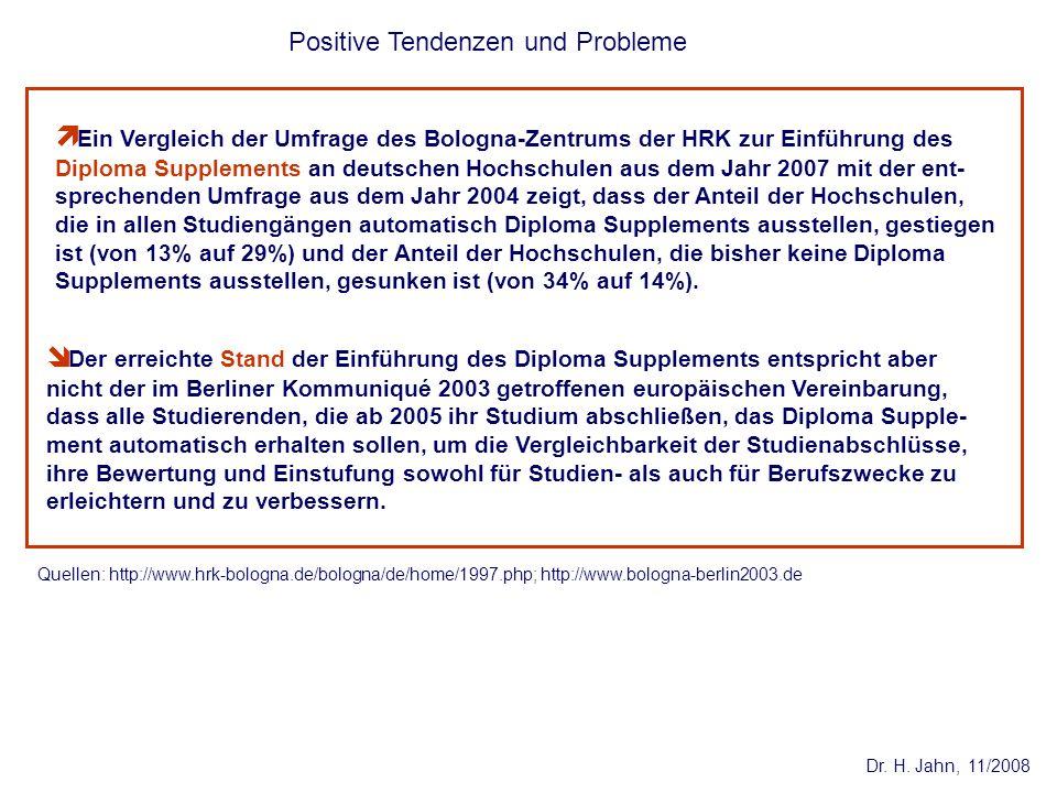 Dr. H. Jahn, 11/2008 Positive Tendenzen und Probleme Quellen: http://www.hrk-bologna.de/bologna/de/home/1997.php; http://www.bologna-berlin2003.de Ein