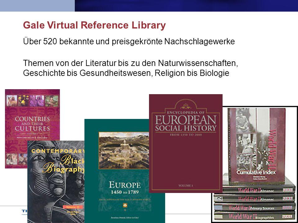 Über 520 bekannte und preisgekrönte Nachschlagewerke Themen von der Literatur bis zu den Naturwissenschaften, Geschichte bis Gesundheitswesen, Religio