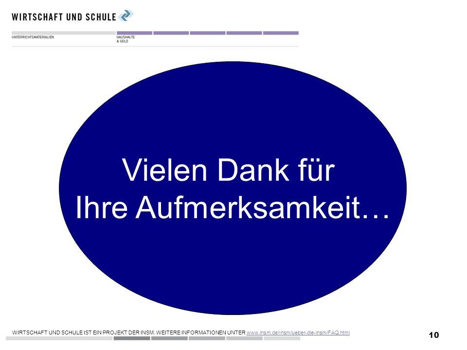 10 Vielen Dank für Ihre Aufmerksamkeit… WIRTSCHAFT UND SCHULE IST EIN PROJEKT DER INSM. WEITERE INFORMATIONEN UNTER www.insm.de/insm/ueber-die-insm/FA