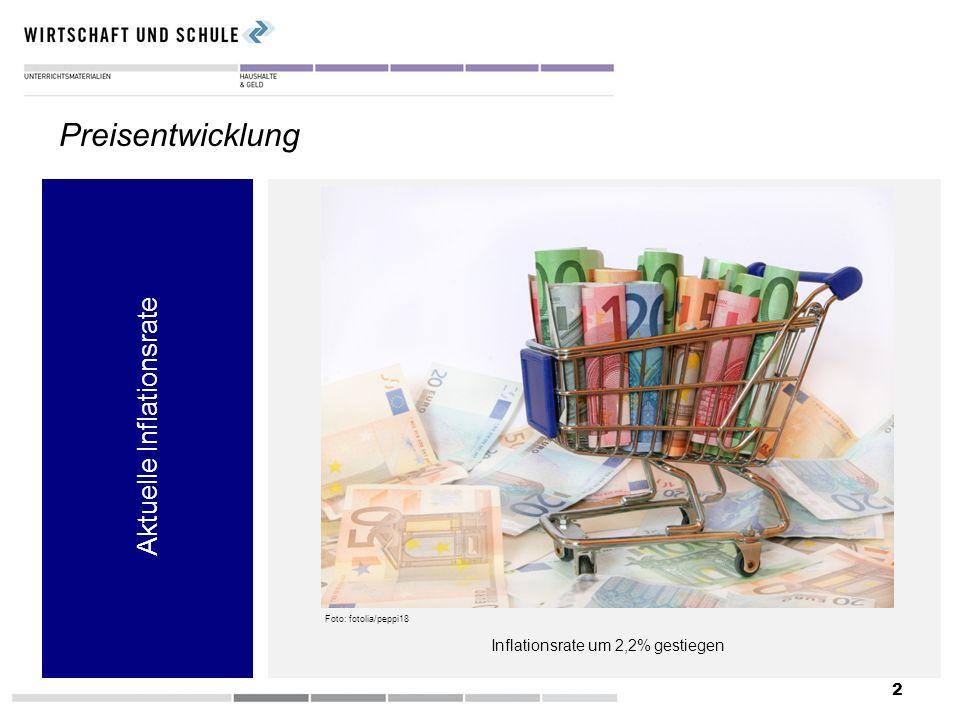 2 Aktuelle Inflationsrate Preisentwicklung Inflationsrate um 2,2% gestiegen Foto: fotolia/peppi18