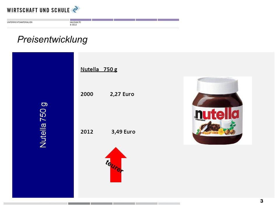 3 Nutella 750 g Preisentwicklung Nutella 750 g 2000 2,27 Euro 2012 3,49 Euro teurer
