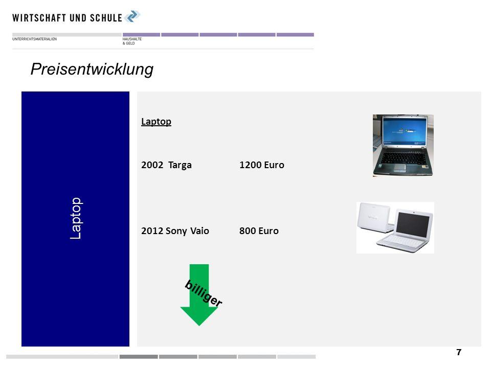 7 Laptop Preisentwicklung Laptop 2002 Targa1200 Euro 2012 Sony Vaio 800 Euro billiger