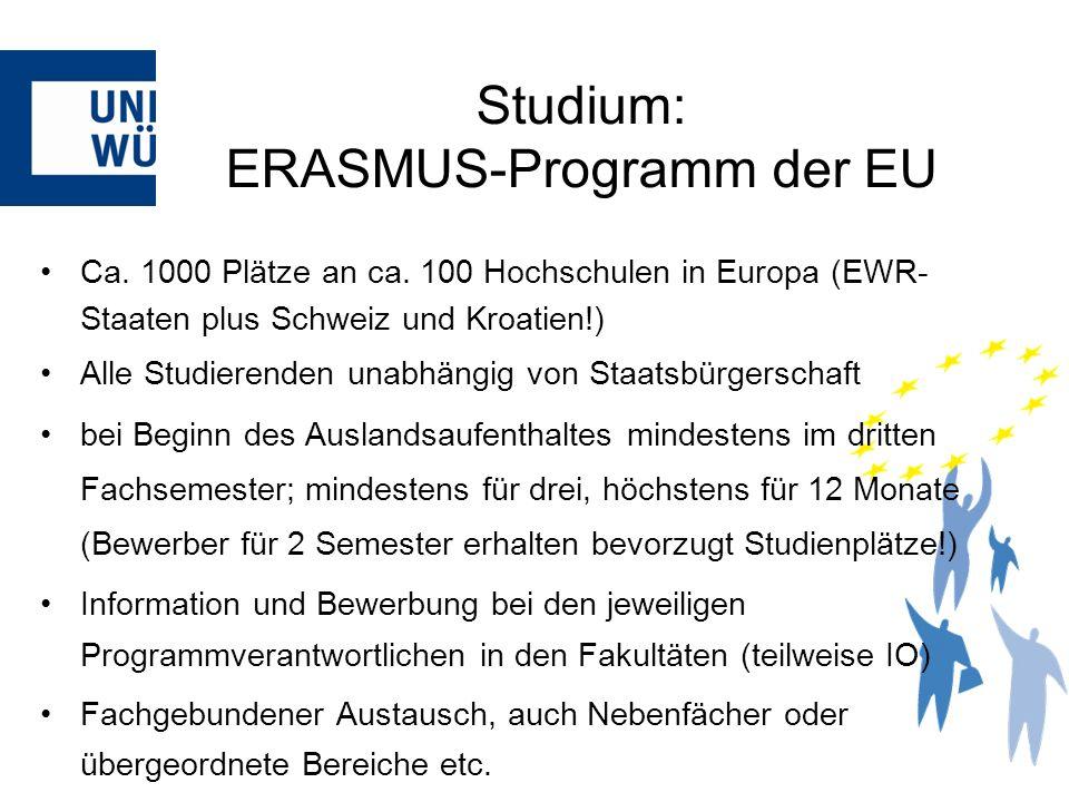Ca. 1000 Plätze an ca. 100 Hochschulen in Europa (EWR- Staaten plus Schweiz und Kroatien!) Alle Studierenden unabhängig von Staatsbürgerschaft bei Beg