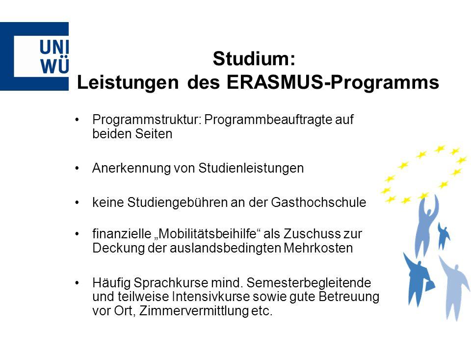Programmstruktur: Programmbeauftragte auf beiden Seiten Anerkennung von Studienleistungen keine Studiengebühren an der Gasthochschule finanzielle Mobi