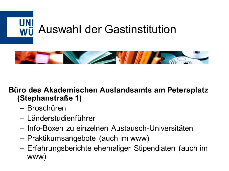 www.daad.de wichtigste deutsche Förderorganisation für das Studium im Ausland Stipendiendatenbank Jahres-, Semester- und Kurzstipendien, Sprachkursstipendien (letztere 3 jetzt PROMOS.