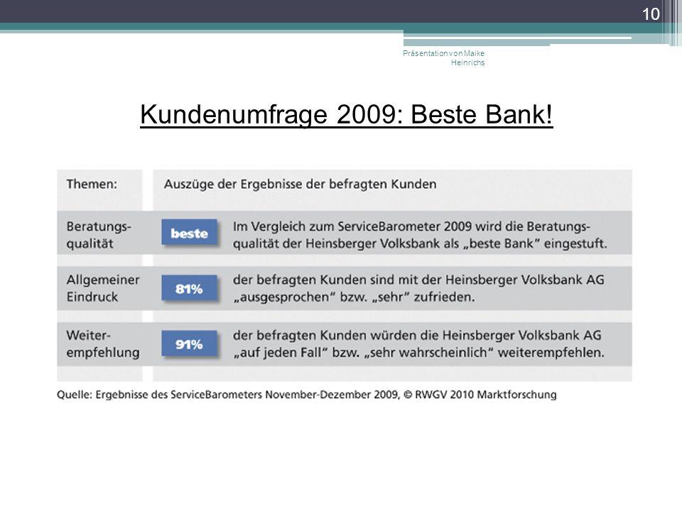 Kundenumfrage 2009: Beste Bank! Präsentation von Maike Heinrichs 10