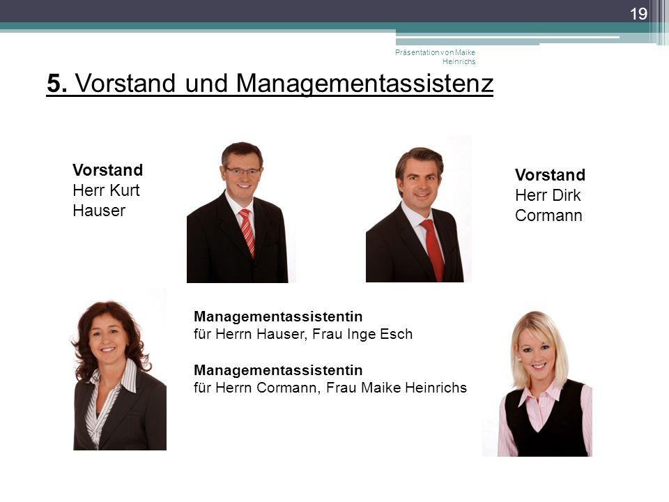 Präsentation von Maike Heinrichs 19 5. Vorstand und Managementassistenz Vorstand Herr Kurt Hauser Vorstand Herr Dirk Cormann Managementassistentin für