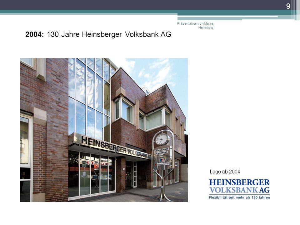 Präsentation von Maike Heinrichs 9 2004: 130 Jahre Heinsberger Volksbank AG Logo ab 2004