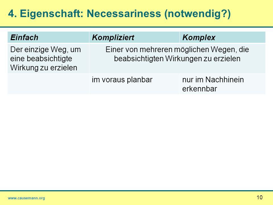 www.causemann.org 10 4. Eigenschaft: Necessariness (notwendig?) EinfachKompliziertKomplex Der einzige Weg, um eine beabsichtigte Wirkung zu erzielen E