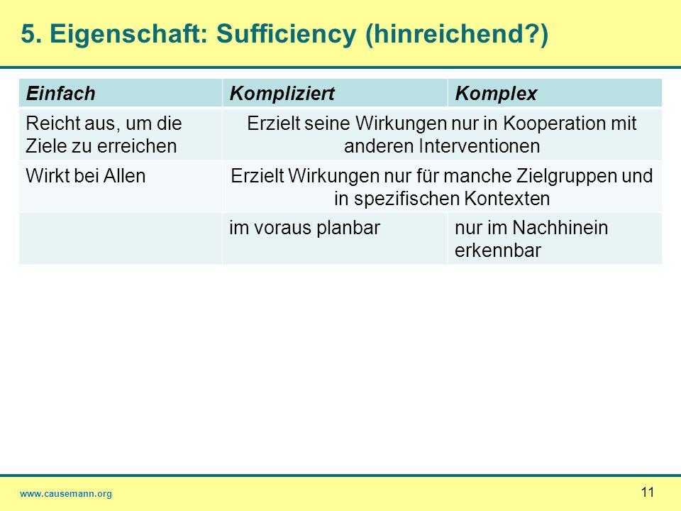 www.causemann.org 11 5. Eigenschaft: Sufficiency (hinreichend?) EinfachKompliziertKomplex Reicht aus, um die Ziele zu erreichen Erzielt seine Wirkunge