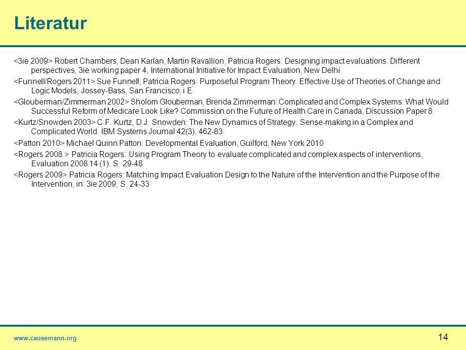 www.causemann.org 14 Literatur Robert Chambers, Dean Karlan, Martin Ravallion, Patricia Rogers: Designing impact evaluations. Different perspectives,