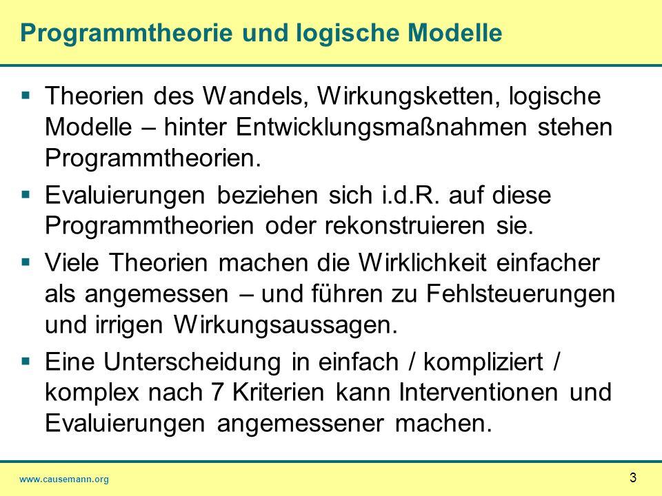 www.causemann.org Programmtheorie und logische Modelle Theorien des Wandels, Wirkungsketten, logische Modelle – hinter Entwicklungsmaßnahmen stehen Pr