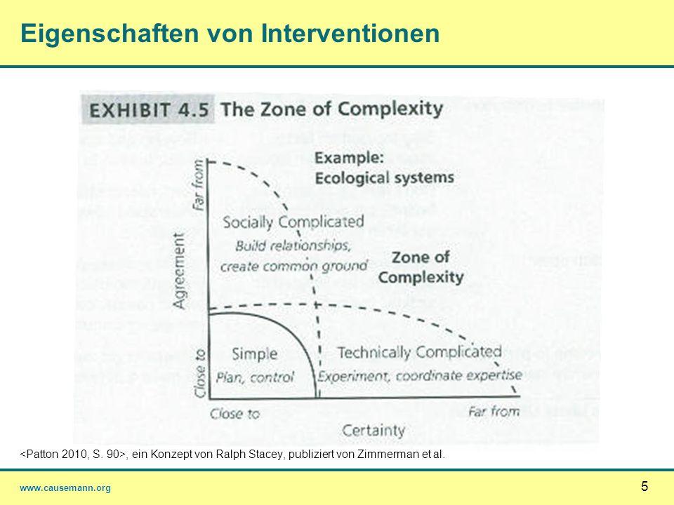 www.causemann.org 5 Eigenschaften von Interventionen, ein Konzept von Ralph Stacey, publiziert von Zimmerman et al.