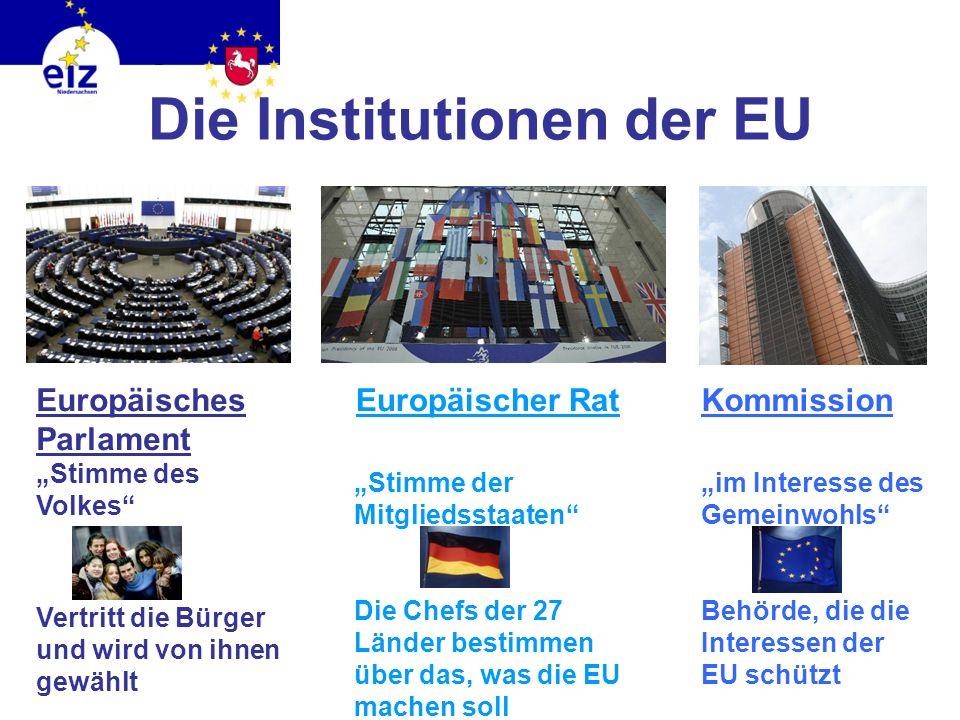 Um all diese Dinge kümmern sich die Einrichtungen der EU: Die Kommission Das Europäische Parlament Der Europäische Rat Diese Einrichtungen besuchen wi