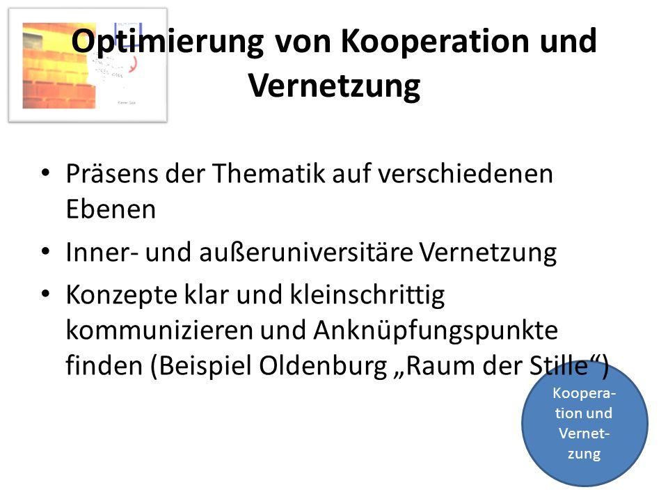Koopera- tion und Vernet- zung Optimierung von Kooperation und Vernetzung Präsens der Thematik auf verschiedenen Ebenen Inner- und außeruniversitäre V