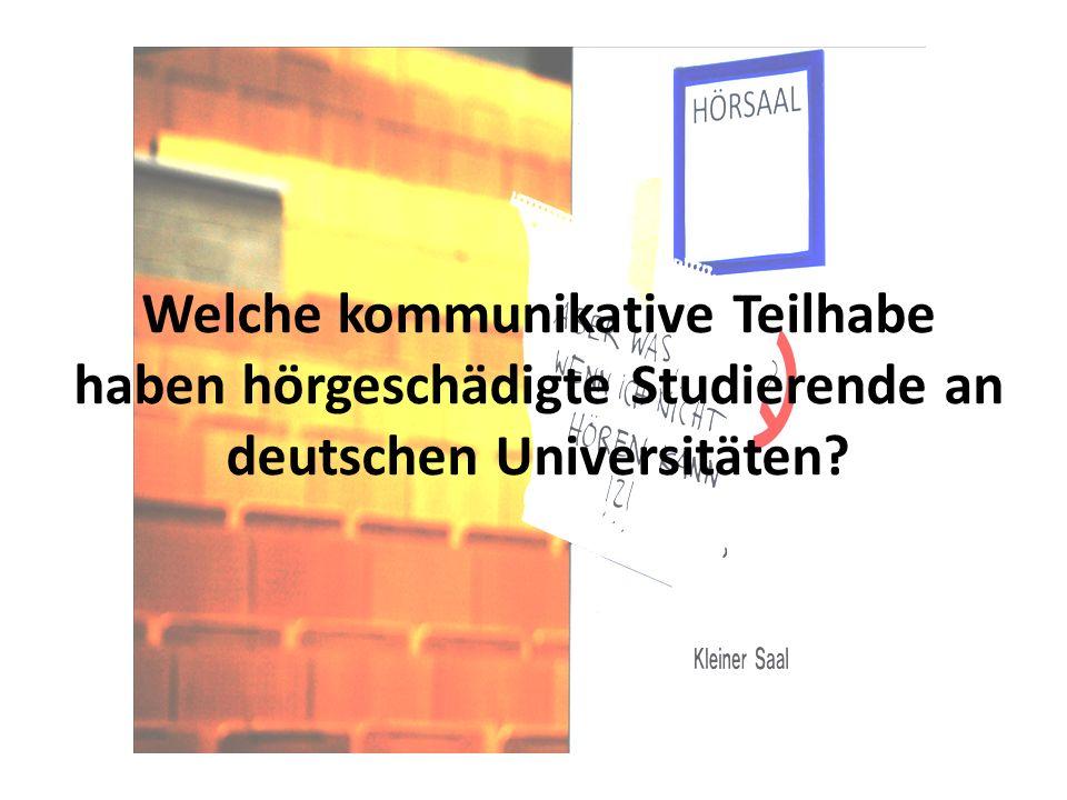 Schwerpunkte der untersuchten Universitäten Hamburg Individuelle Beratung Gebärdensprachli- ches Angebot Versorgung mit personellen HIlfen Oldenburg Individuelle Beratung Sensibilisierung für Lärm & Ruhe Raumakustik und technische Ausstattung
